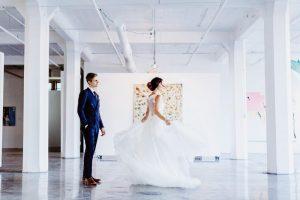big fake wedding couple