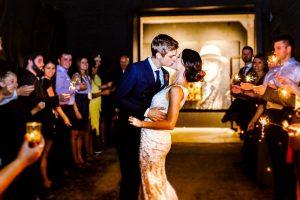 big fake wedding kiss fireworks