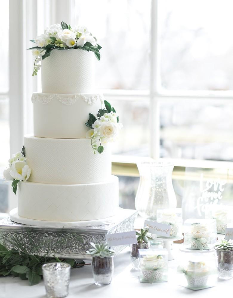 romantic greenery white herringbone cake