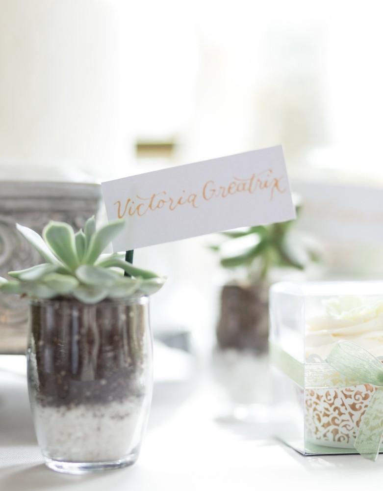 romantic greenery name card