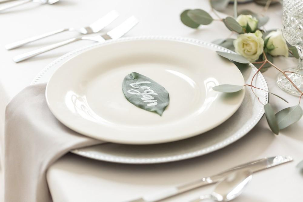 romantic greenery place setting with name