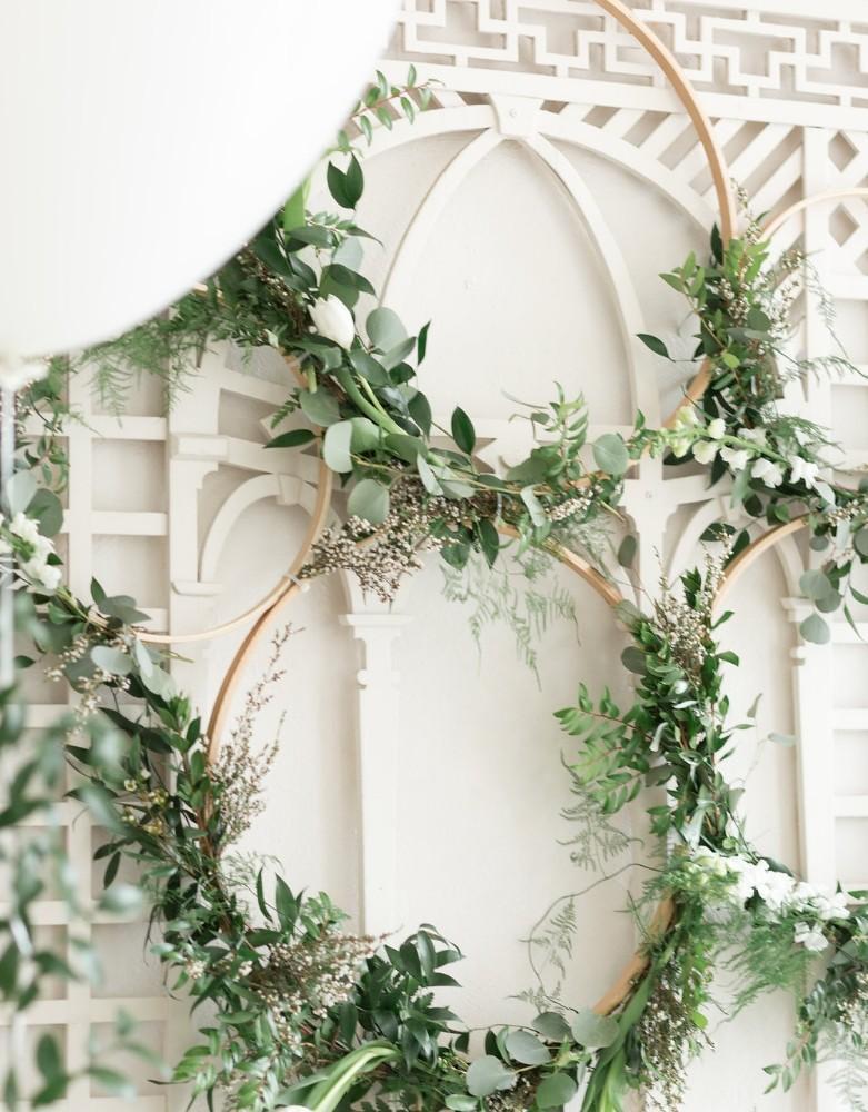 romantic greenery wall circles
