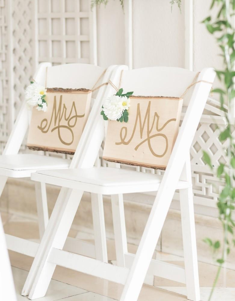 romantic greenery mr and mrs chairs