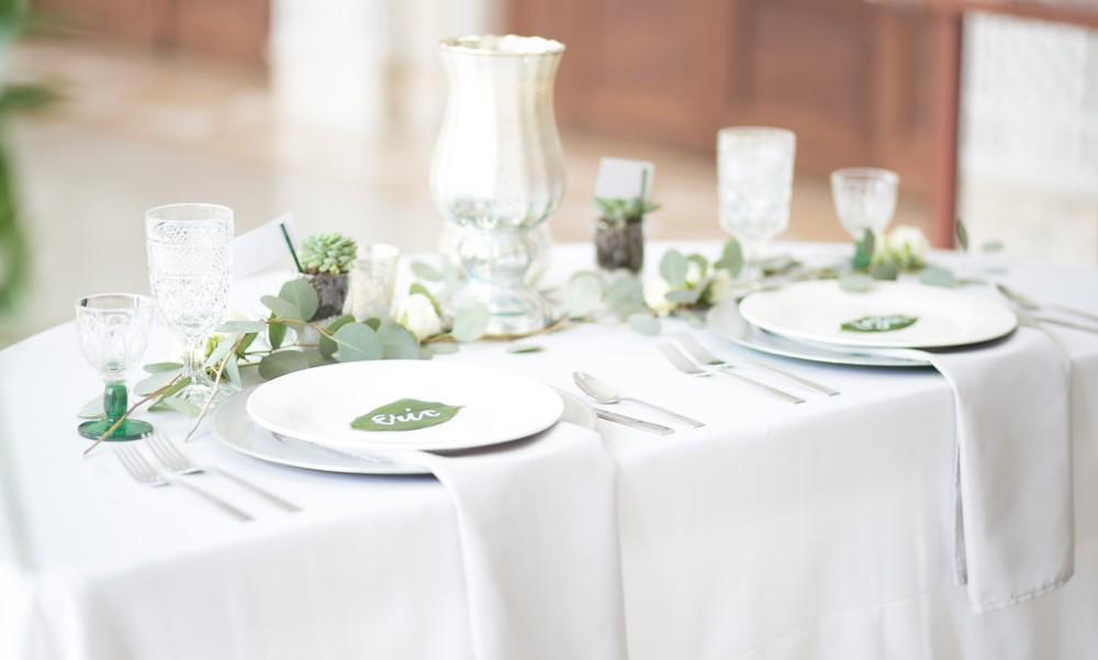 romantic greenery table setting