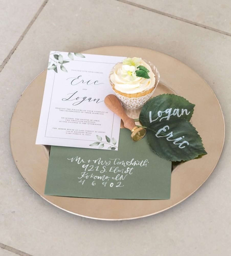 romantic greenery invitation suite
