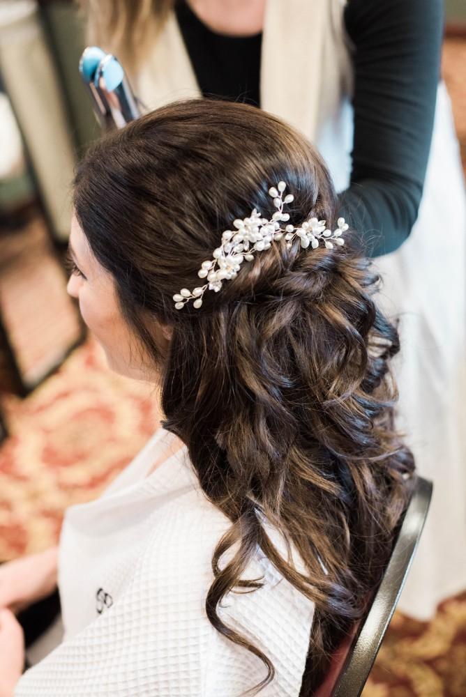 Christine Ken bride getting ready hair