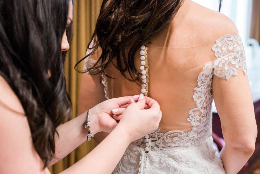Christine Ken bride's dress details