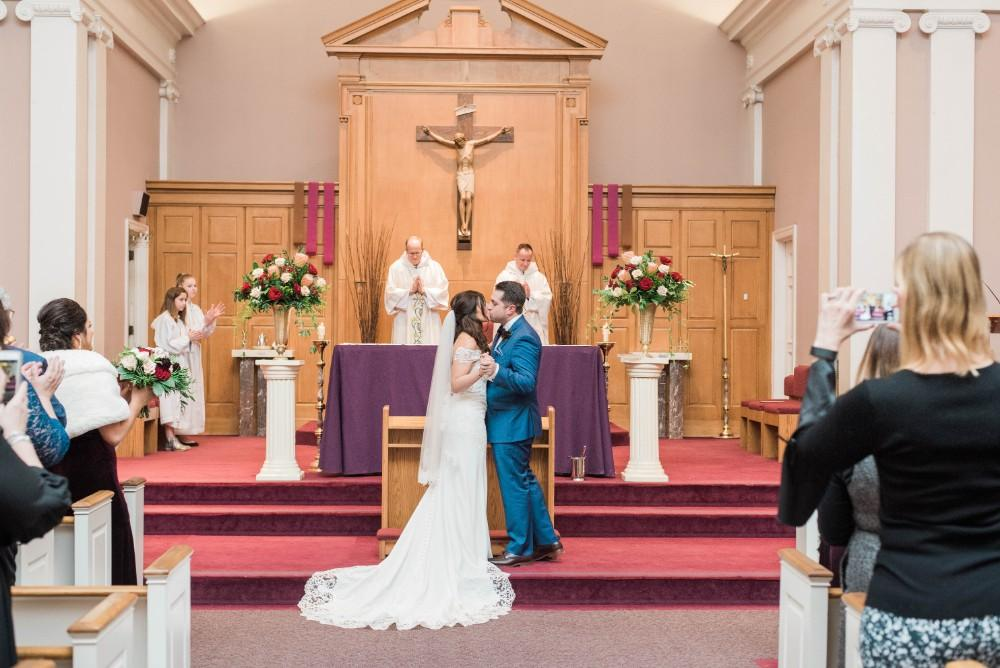 Christine Ken first kiss church ceremony
