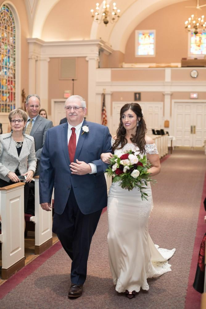 Christine Ken father of the bride walking down aisle