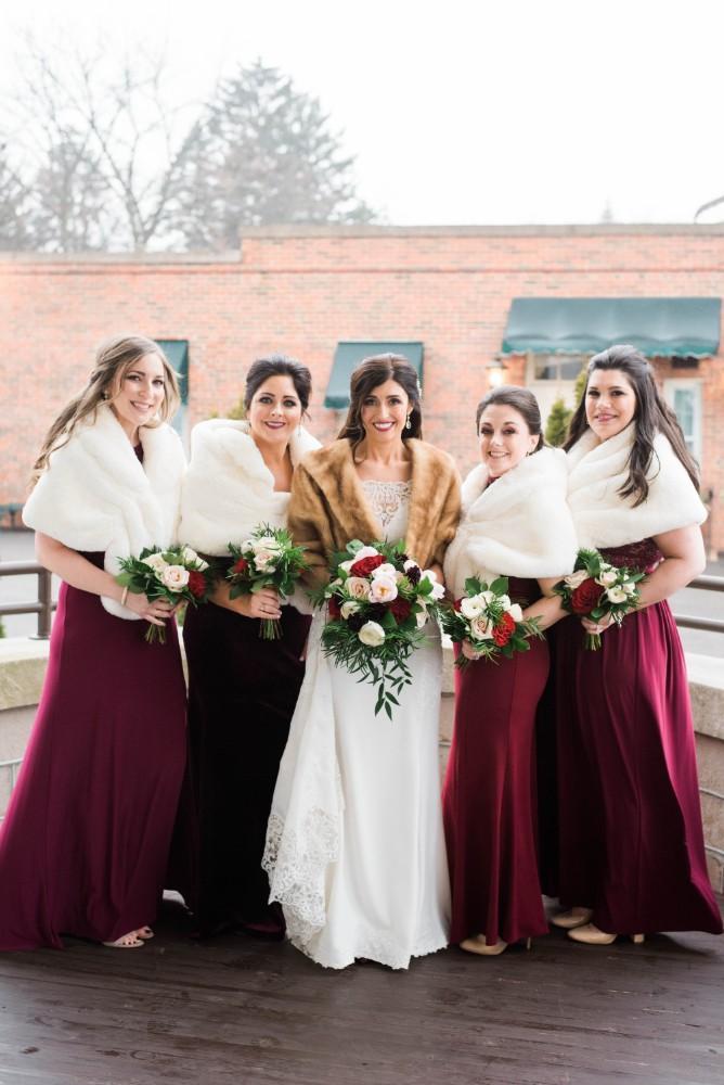 Christine Ken bridesmaids with fur