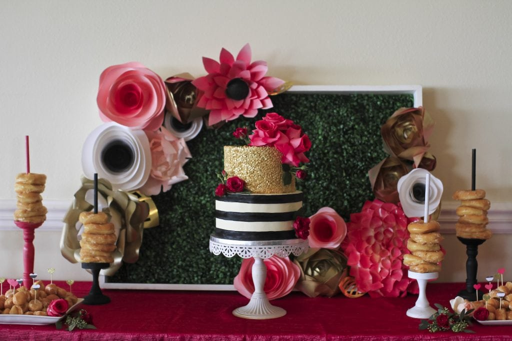 Fashion Inspired Pink Black Gold Bridal Shower The Celebration Society