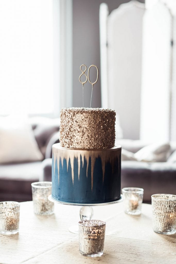 Navy Gold 80th Birthday Party
