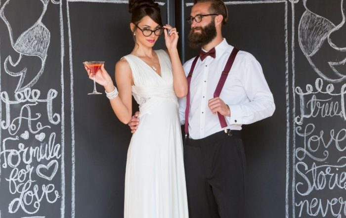 bride and groom with glasses - how to wear glasses on wedding day