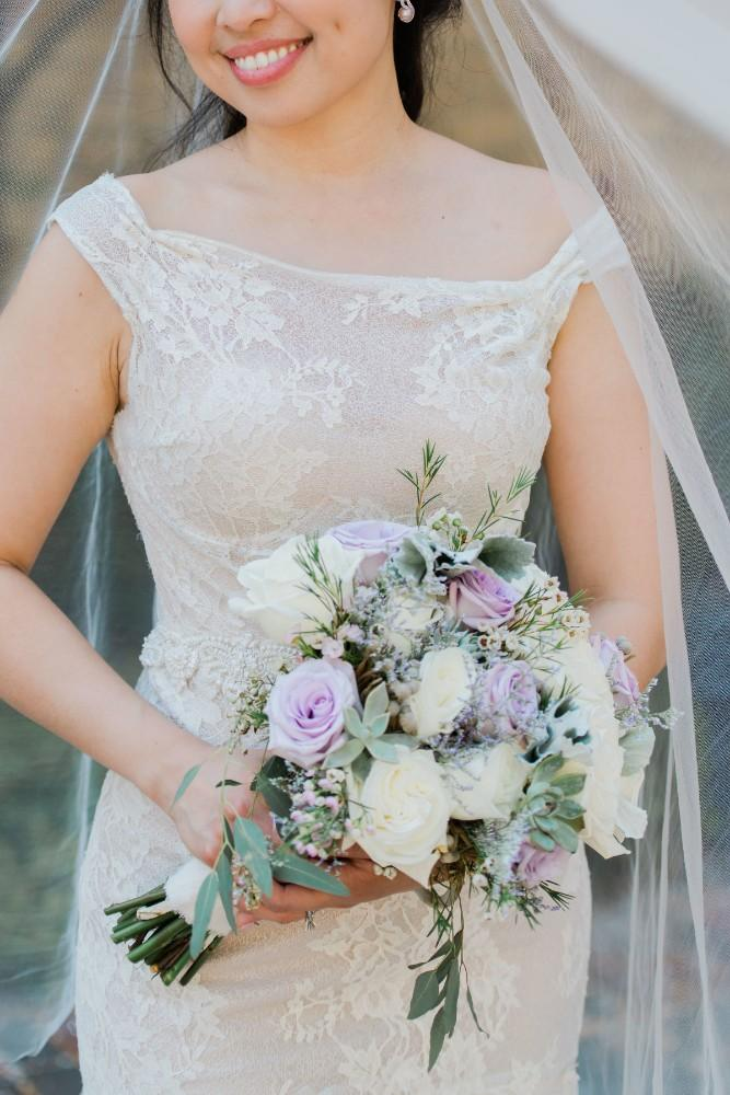 rustic purple bride bouquet