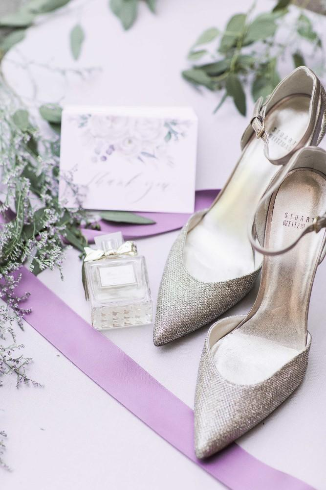 rustic purple shoes and perfume