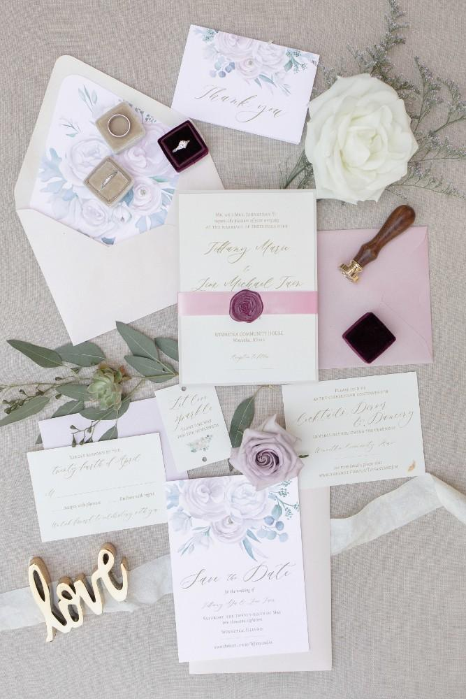 rustic purple invitation suite