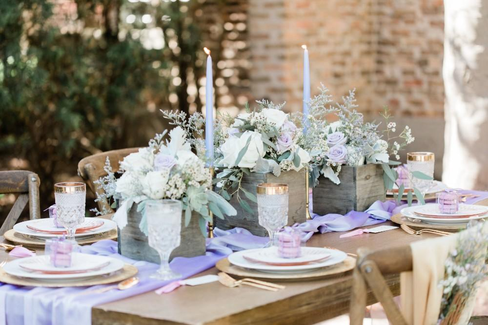 rustic purple table setting