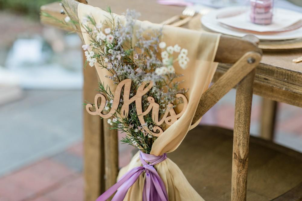 rustic purple mrs chair decoration