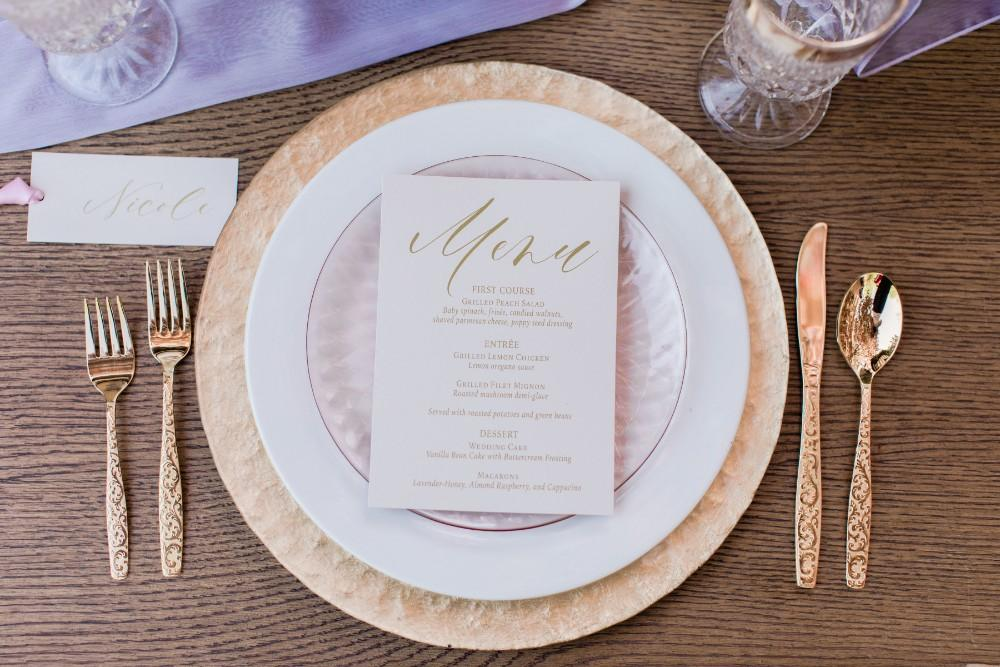 rustic purple menu