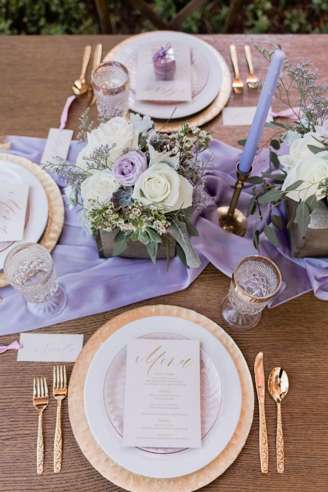 rustic purple place setting