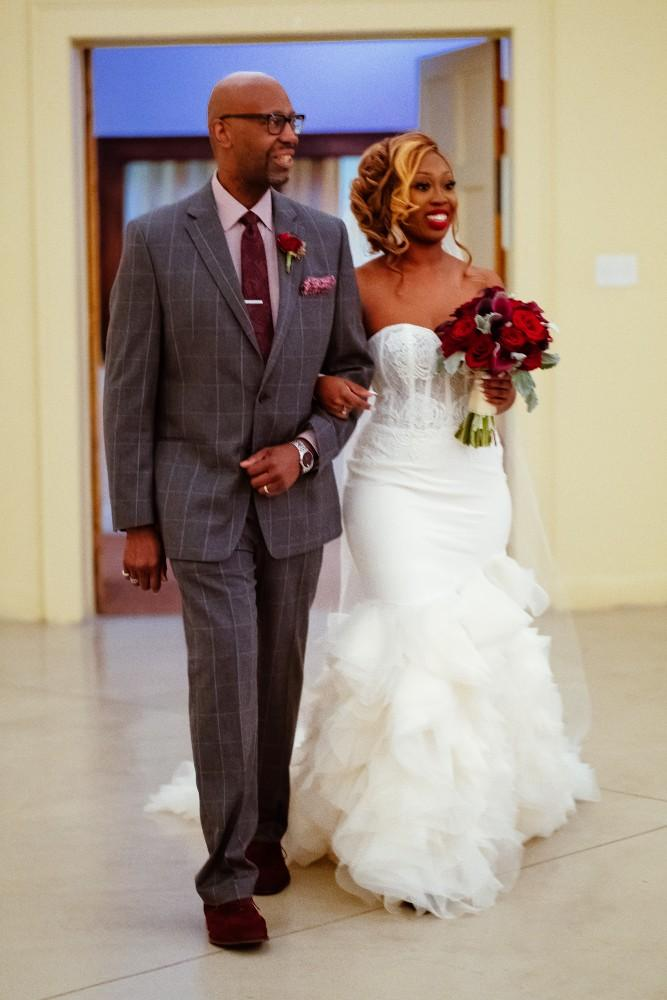dominique and william father walking bride down aisle