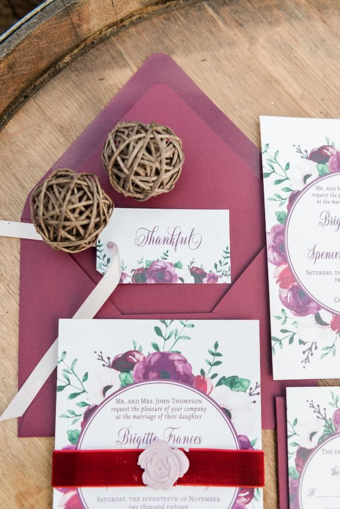 thanksgiving inspired wedding invitation stationery