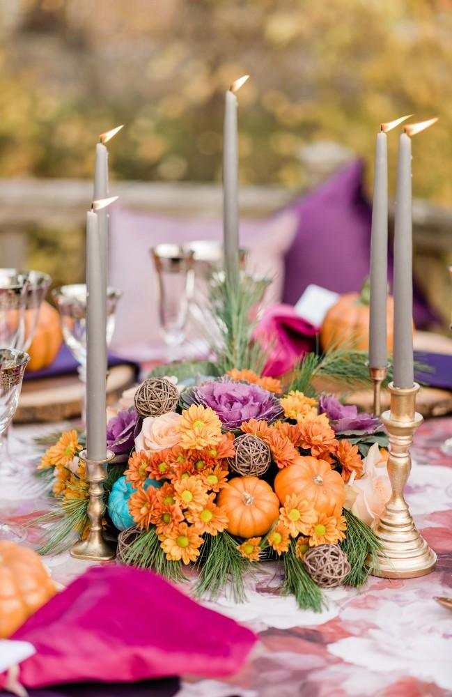 thanksgiving inspired wedding reception decor candles tapers centerpieces