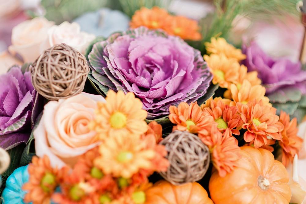 thanksgiving inspired fall wedding flowers centerpiece