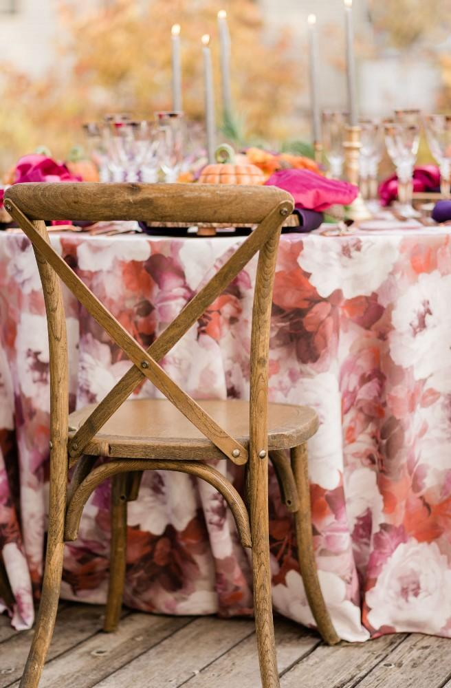 thanksgiving inspired fall wedding reception wooden chairs