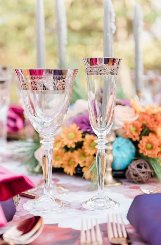 thanksgiving inspired wedding reception decor crystal goblets