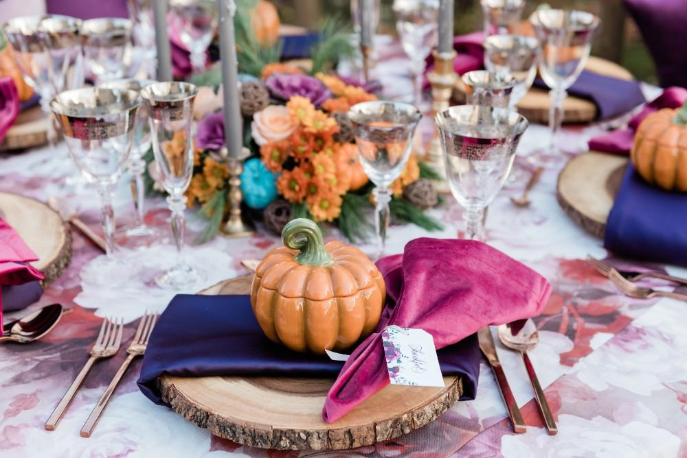 thanksgiving inspired fall wedding reception decor table setting centerpieces