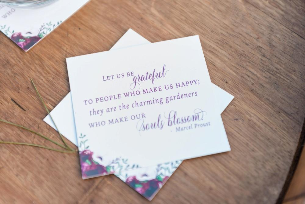 thanksgiving inspired fall wedding reception grateful thankful cards