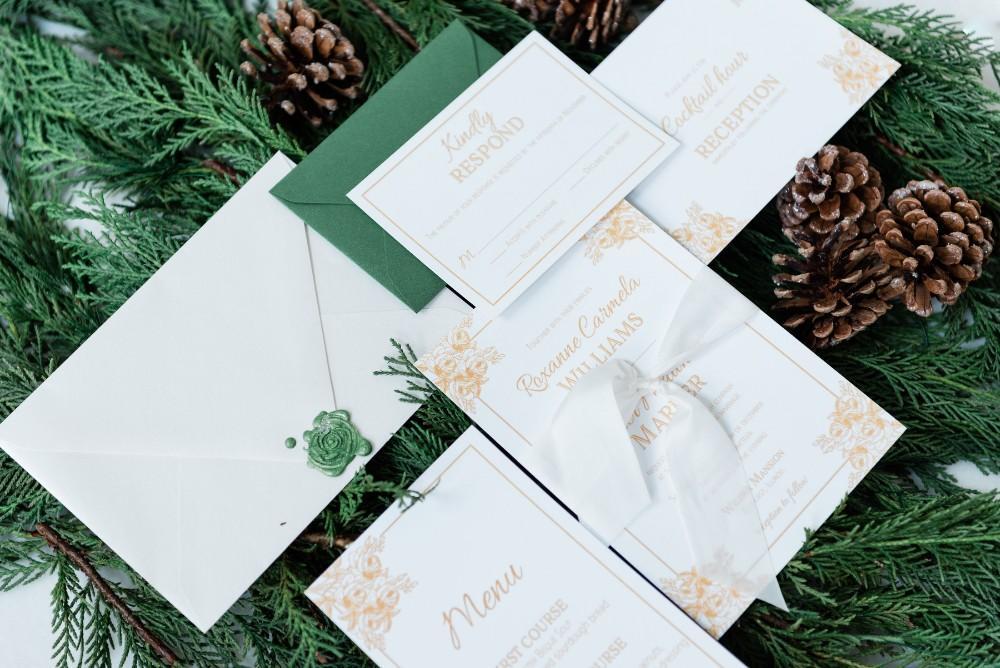 green velvet and gold stationery kensington