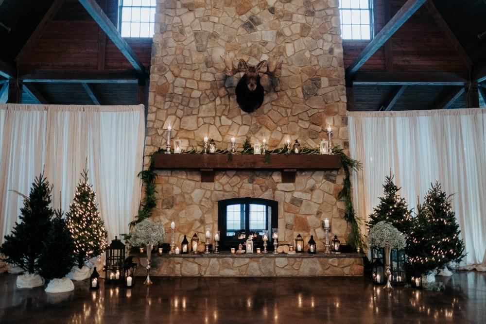 jen & brad winter snow wedding fireplace