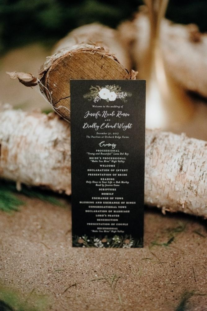 jen & brad winter wedding stationery