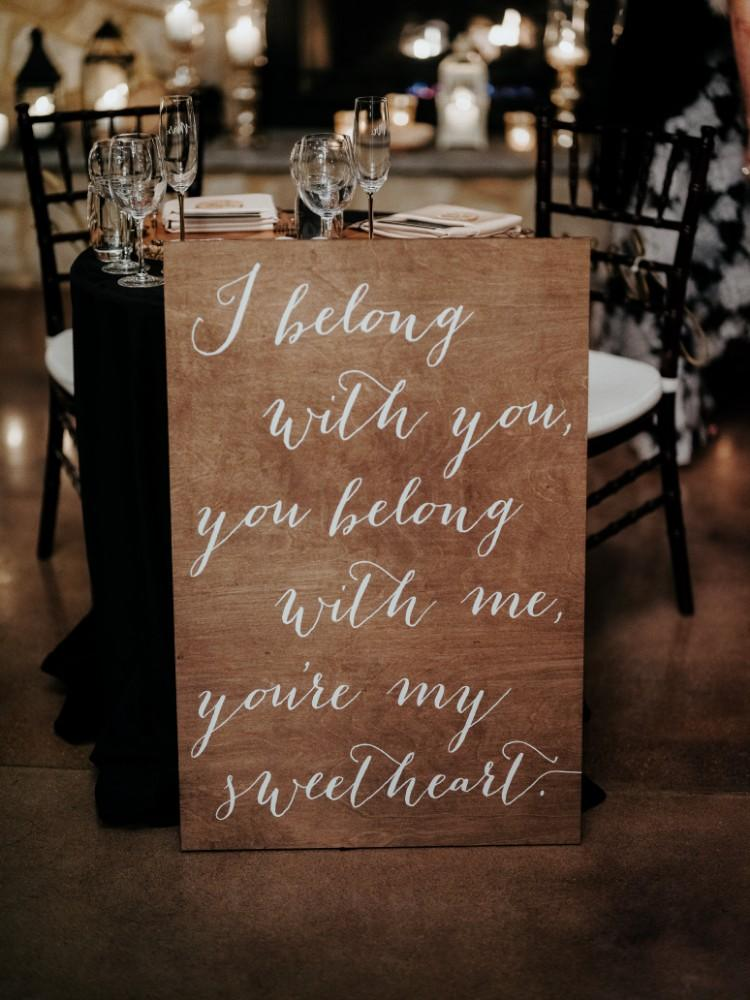 jen & brad winter wedding I belong with you sign