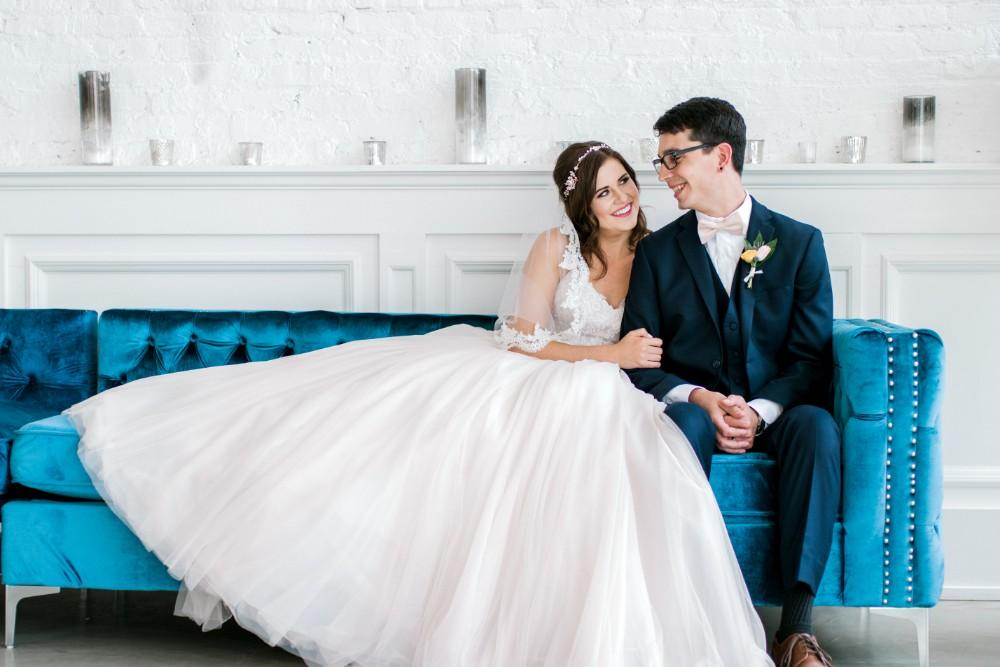 styled shoot bold colors room 1520 blue velvet couch