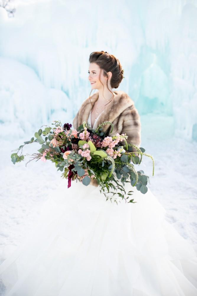 ice castles styled shoot bride bouquet