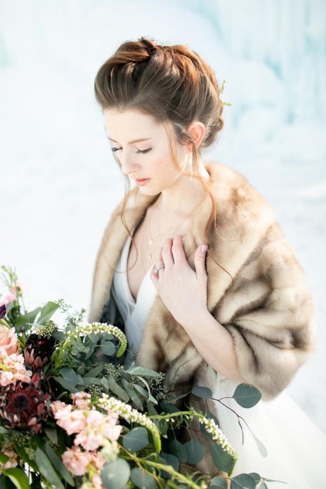 ice castles styled shoot bride bouquet fur