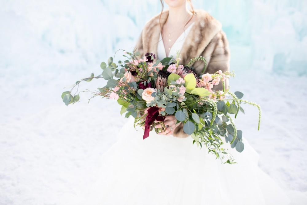 ice castles styled shoot bridal bouquet