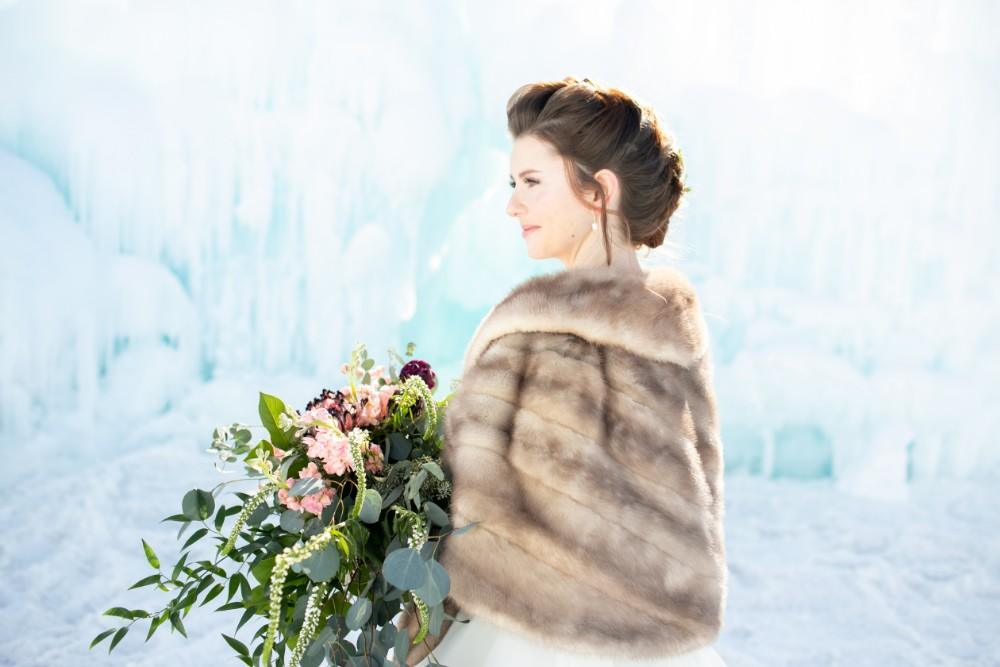 ice castles styled shoot bride with fur