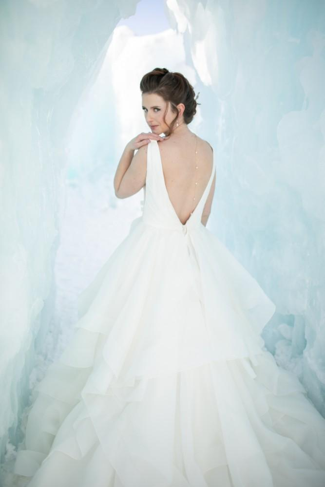 ice castles styled shoot bride wedding gown