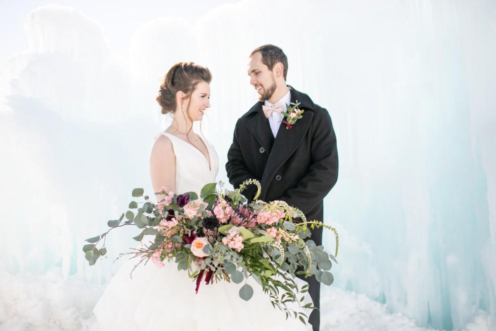 ice castles styled shoot bride groom