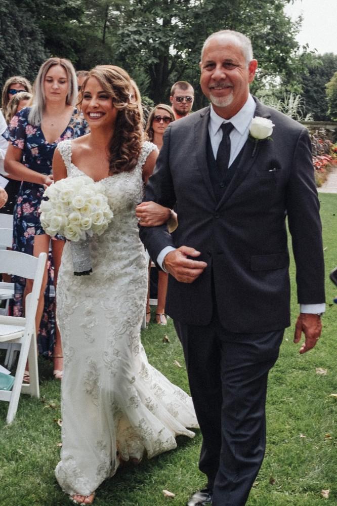 alexandra jacob franchesco's ristorante father walking daughter down aisle