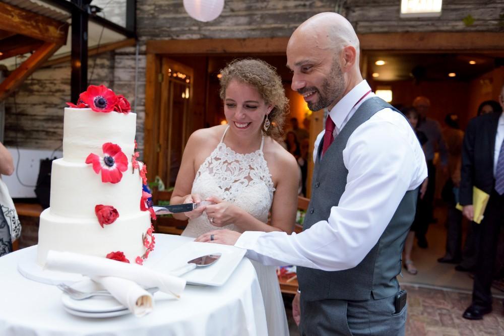 elizabeth & tony at volo wine bar wedding cake