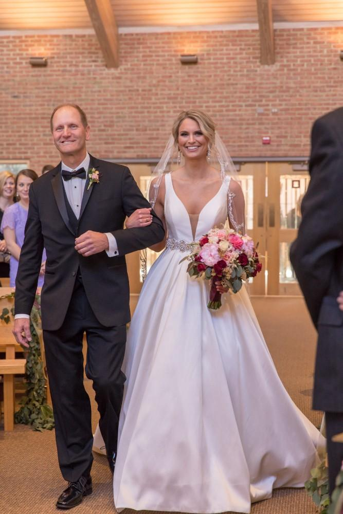 lauren and jordan haley mansion father daughter walking down aisle