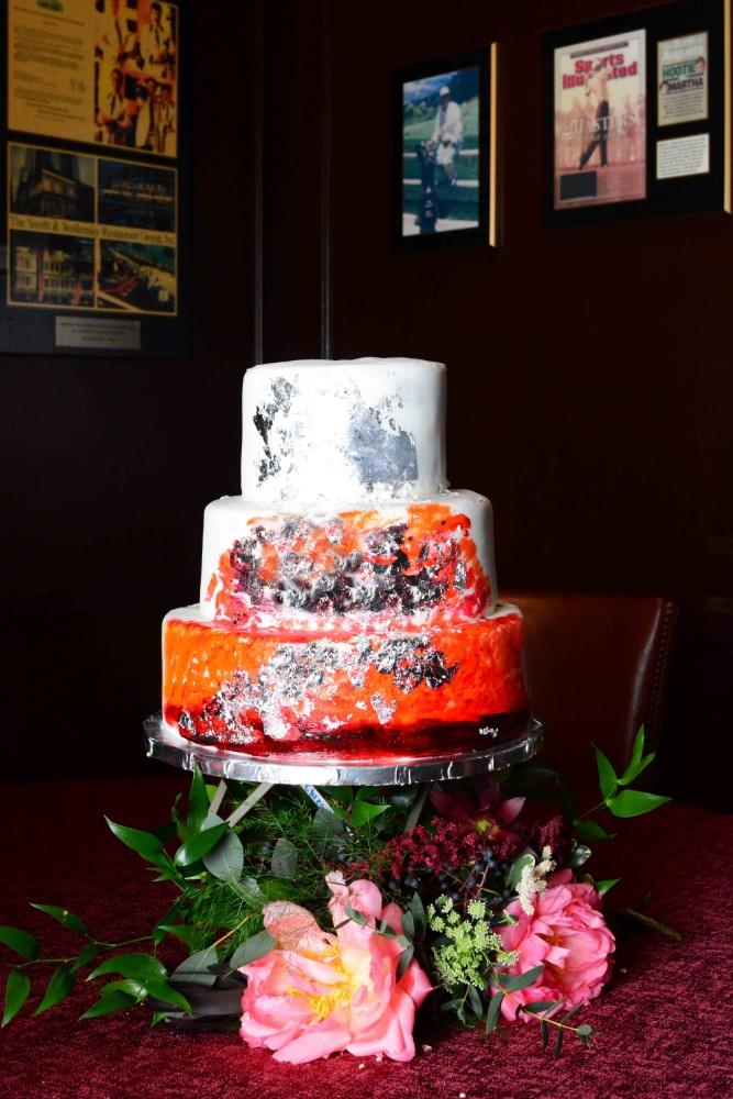 steakhouse styled shoot wedding cake