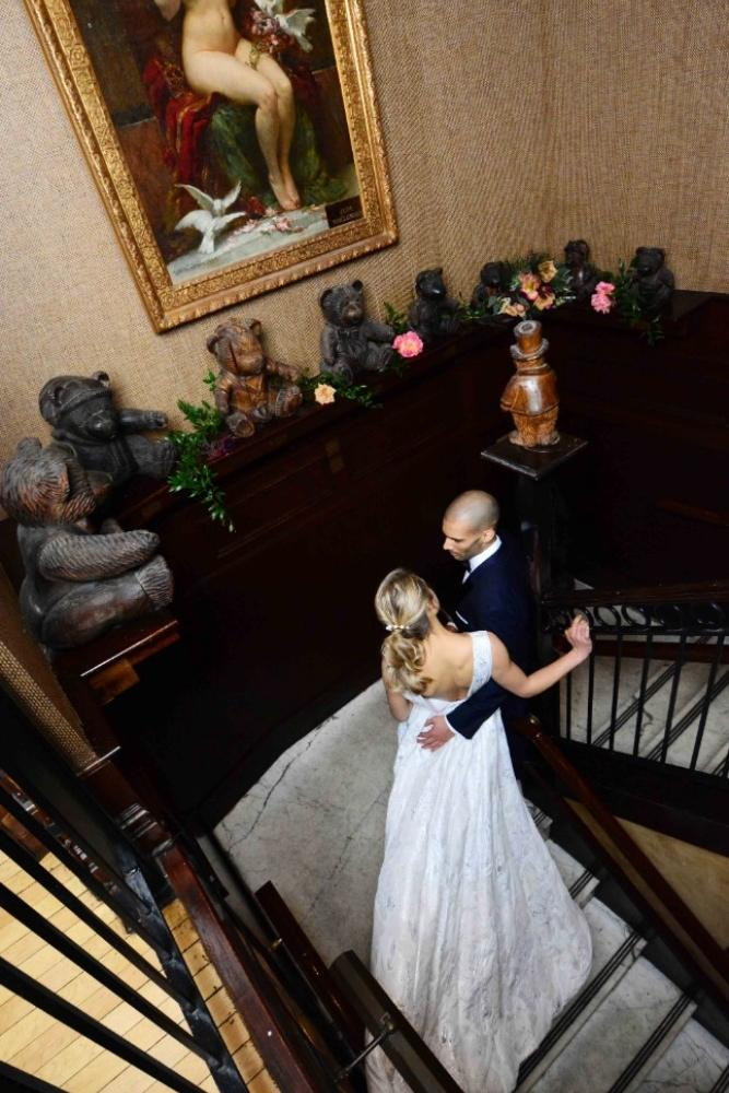 steakhouse styled shoot staircase