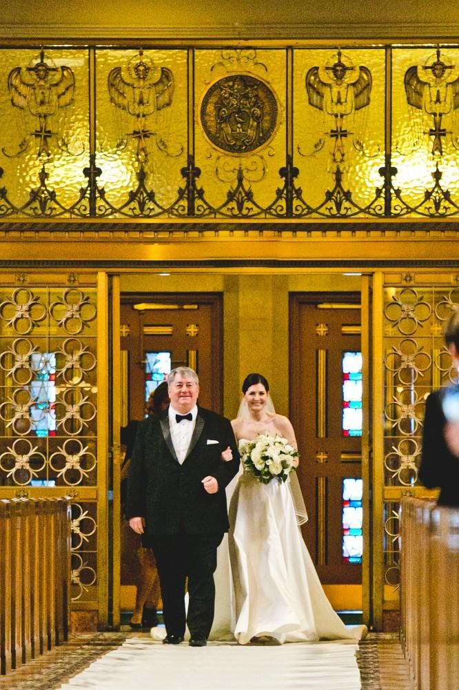 annie mike the langham chicago father walking daughter down aisle