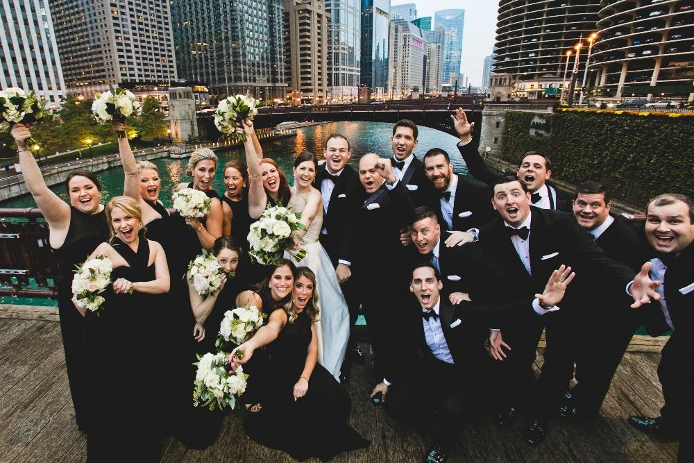 annie mike the langham chicago wedding party